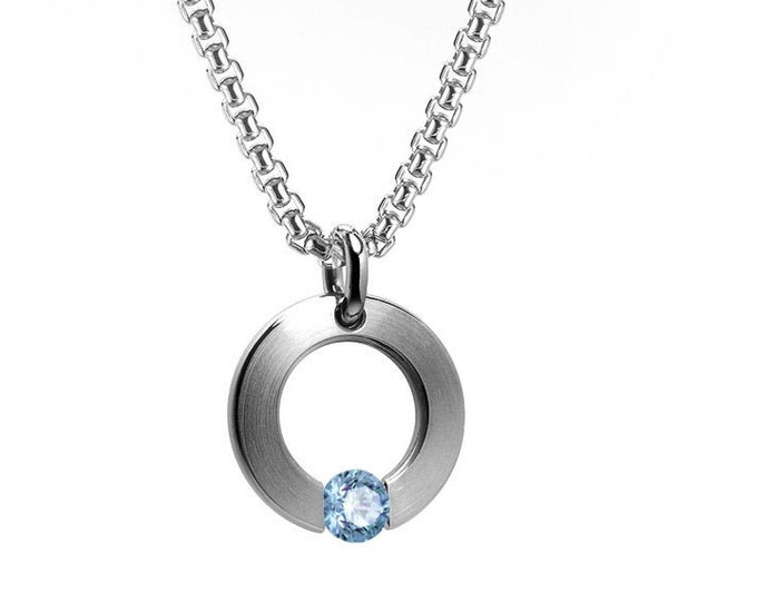 Blue Topaz Tension Set Flat Circle Pendant in Stainless Steel