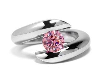 1ct Pink Sapphire Ring Bypass Tension Set Mounting in Stainless Steel