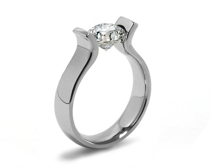 Tension Set Engagement Ring with 2ct, 1.5ct and 1ct White Sapphire in Stainless Steel