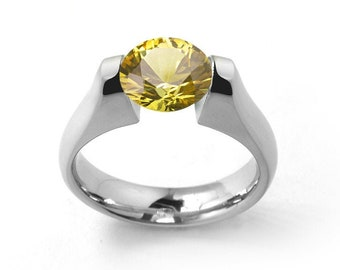 2ct Yellow Sapphire Engagement Ring Tension Set in Stainless Steel