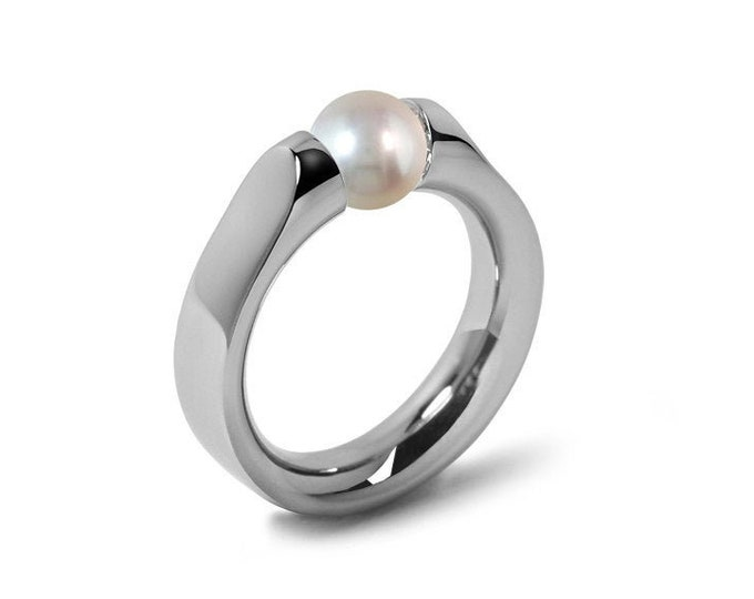White Pearl Ring Tension Set in Stainless Steel