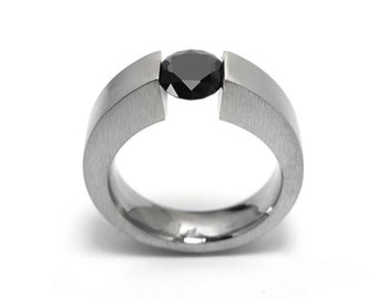1ct Black Onyx Ring Tension Set Mounting in Stainless Steel