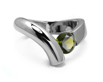 1ct Peridot Bypass Tension Set Ring in Two Tone Stainless Steel by Taormina Jewelry