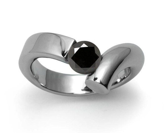 1ct Black Onyx Bypass Tension Set Ring in Two Tone Stainless Steel