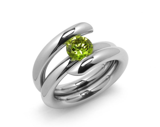 1ct Peridot High Setting Bypass Tension Set Ring in Stainless Steel