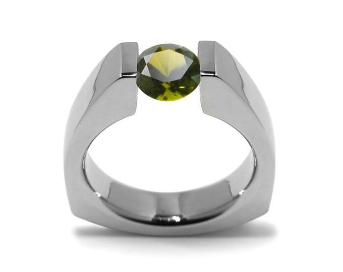 1ct Peridot Triangular Shaped Tension Set Ring by Taormina Jewelry