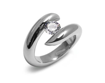 1ct White Sapphire Engagement Ring Bypass Tension Set Mounting in Stainless Steel by Taormina Jewelry