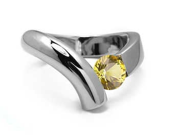 1ct Yellow Sapphire Bypass Tension Set Ring in Two Tone Stainless Steel