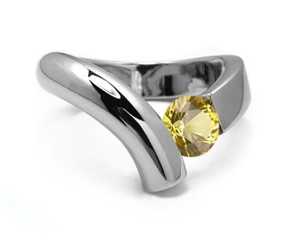 1ct Yellow Sapphire Bypass Tension Set Ring in Two Tone Stainless Steel by Taormina Jewelry