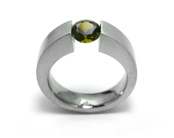 1ct Peridot Ring Tension Set Mounting in Stainless Steel by Taormina Jewelry