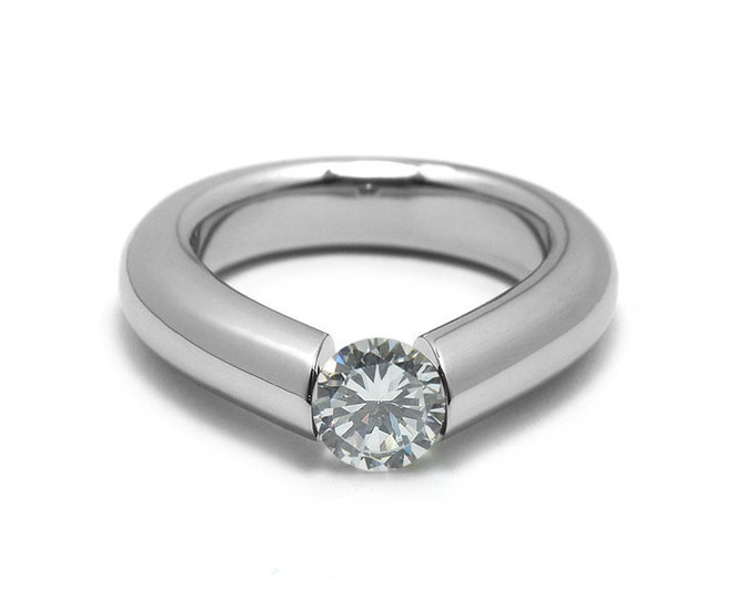 1.5ct White Sapphire Engagement Tension High Setting Ring in Stainless Steel by Taormina Jewelry