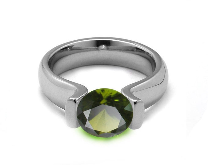 1ct Peridot Lyre shaped Tension Set Ring in Stainless Steel by Taormina Jewelry