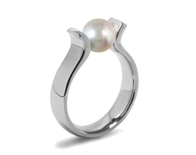 High setting White Pearl Lyre shaped Tension Set Ring in Stainless Steel