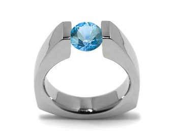 1ct Blue Topaz Triangular Shaped Tension Set Ring by Taormina Jewelry