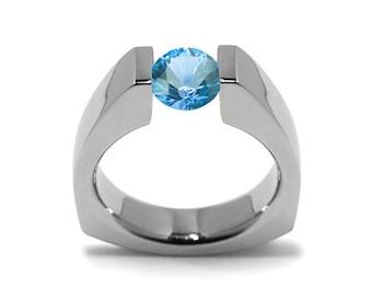 1ct Blue Topaz Triangular Shaped Tension Set Ring
