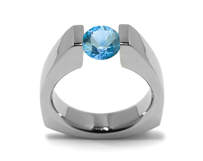 1ct Blue Topaz Triangular Shaped Tension Set Ring