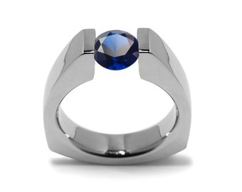 1ct Blue Sapphire Triangular Shaped Tension Set Ring by Taormina Jewelry