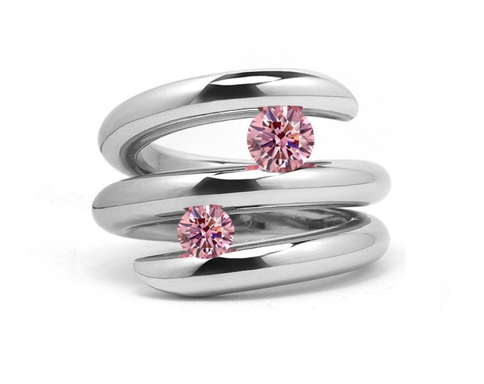 Two Pink Sapphire double row bypass tension set ring in stainless steel