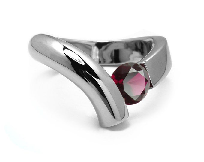 1ct Garnet Bypass Tension Set Ring in Two Tone Stainless Steel by Taormina Jewelry