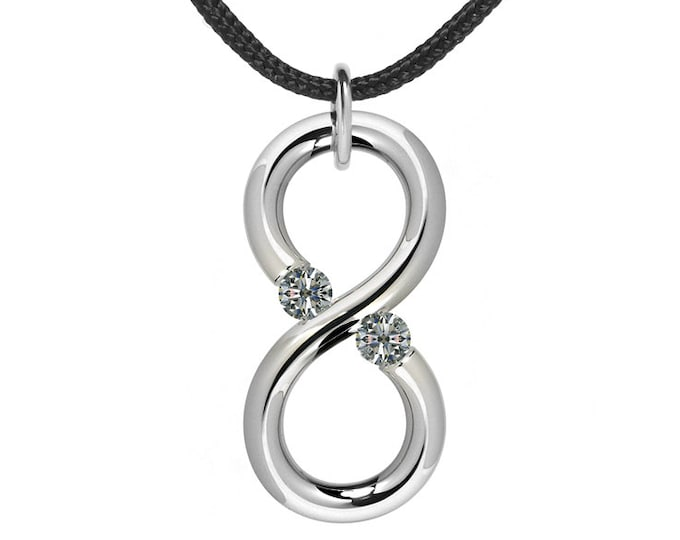 Modern Infinity Pendant with White Sapphire Tension Set Steel Stainless