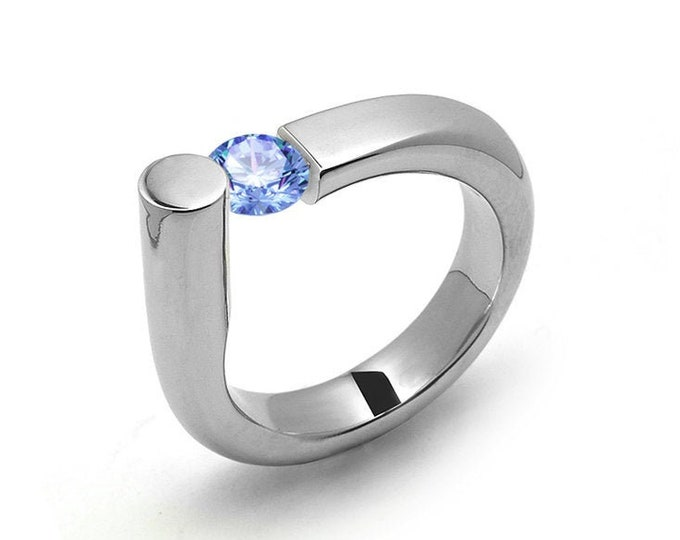 0.75 Blue Topaz Ring Tension Set in Stainless Steel by Taormina Jewelry