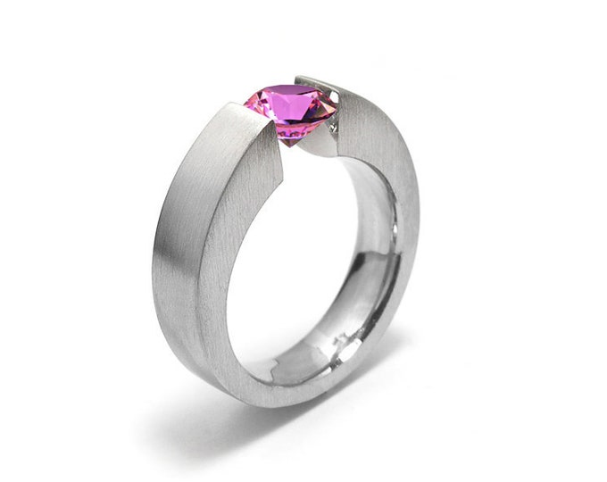 1 ct 1.5 and 2ct Pink Sapphire Two Tone Tension Set ring Modern Style