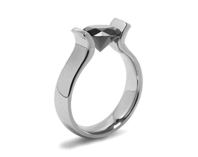 1ct Black Onyx Lyre shaped Tension Set Ring in Stainless Steel by Taormina Jewelry