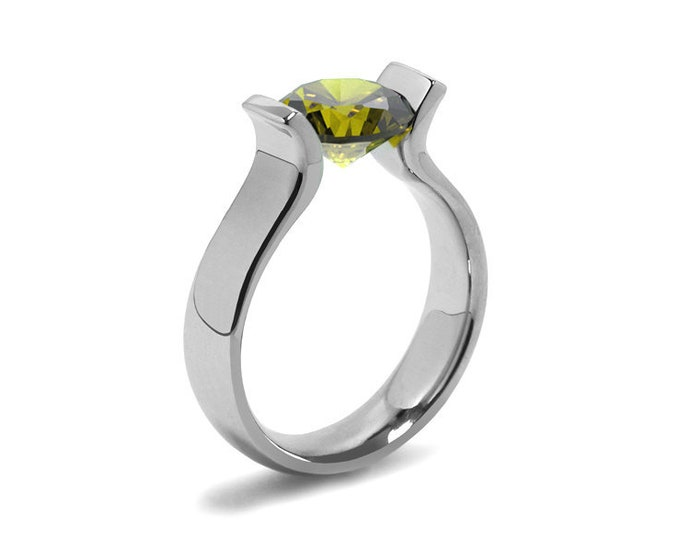 1.5ct Peridot Lyre shaped Tension Set Ring in Stainless Steel by Taormina Jewelry