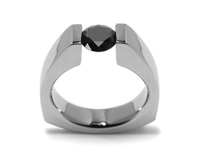 1ct Black Diamond Triangular Tension Set Ring in Stainless Steel Modern Style by Taormina Jewelry