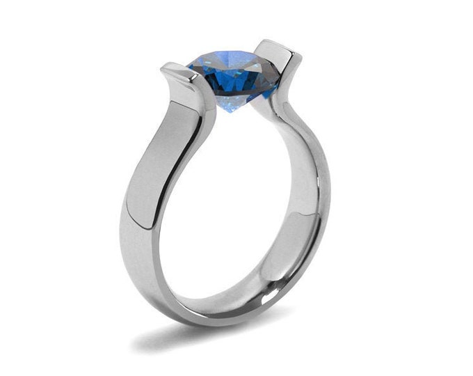 2ct Blue Sapphire Lyre shaped Tension Set Ring in Stainless Steel by Taormina Jewelry