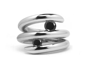 Two Black Onyx double row bypass tension set ring in stainless steel by Taormina Jewelry