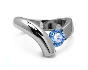 1ct Blue Topaz Bypass Tension Set Ring in Two Tone Stainless Steel