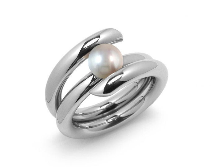 Contemporary White Pearl High Tension Ring in Stainless Steel