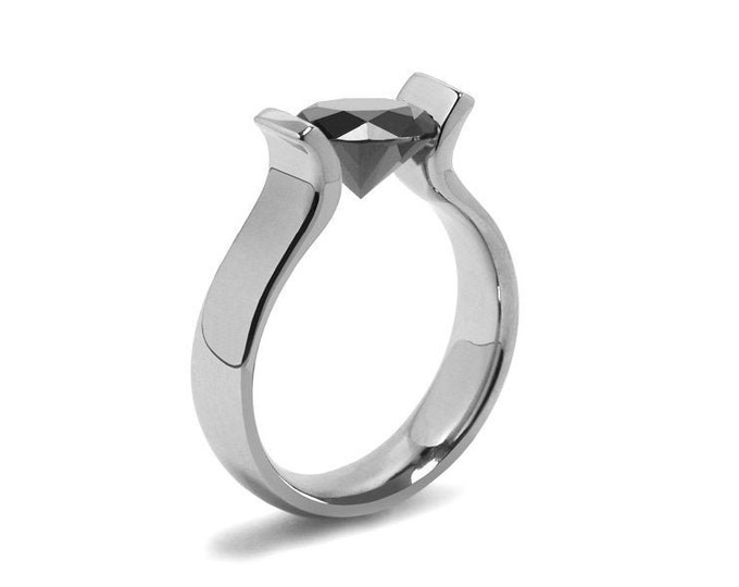 1.5ct Black Onyx Lyre shaped Tension Set Ring in Stainless Steel by Taormina Jewelry