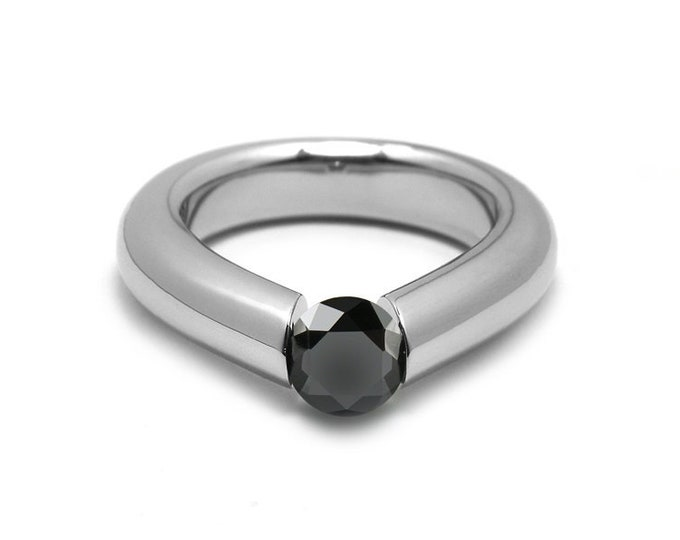 1ct Black Onyx Engagement Tension High Setting Ring in Stainless Steel
