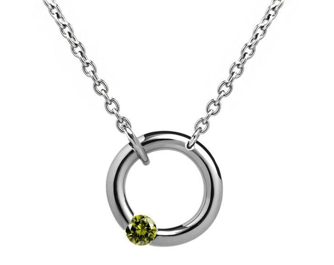Offset Peridot Tension Set Necklace in Stainless Steel by Taormina Jewelry