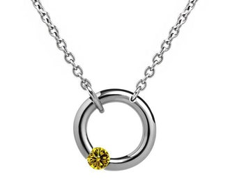 Yellow Sapphire Tension Set V Necklace in Stainless Steel by Taormina Jewelry