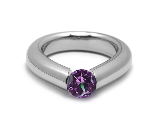1.5ct Amethyst Engagement Tension High Setting Ring in Stainless Steel