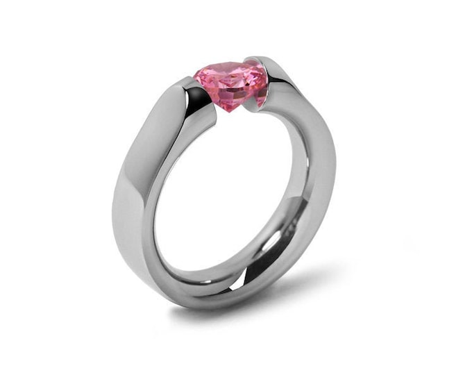 1ct Pink Sapphire Tension Set Ring Comfort Fit Stainless Steel