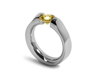 Yellow Sapphire Tension Set Ring Stainless Steel by Taormina Jewelry