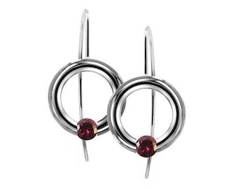 Garnet Tension Set Drop Earrings in Stainless Steel by Taormina Jewelry