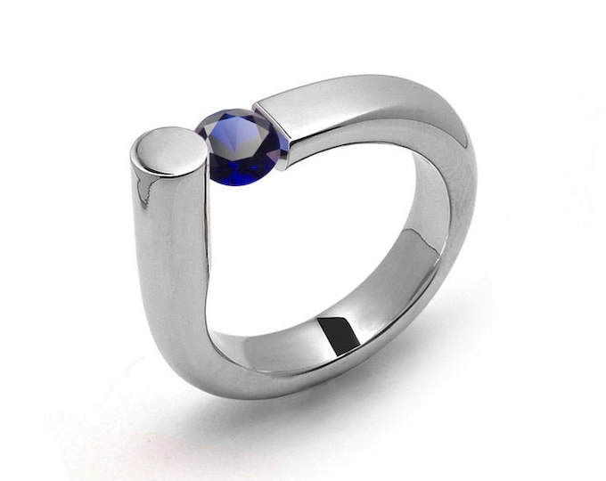 0.75 Blue Sapphire Ring Tension Set in Stainless Steel by Taormina Jewelry