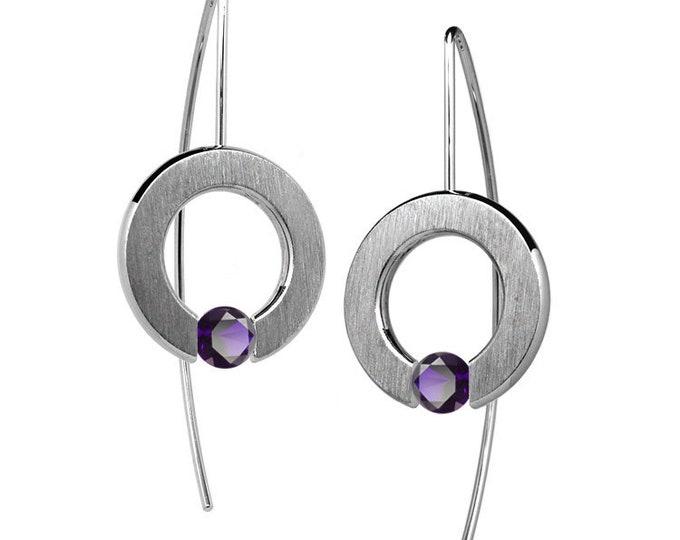 Tension Set Amethyst Drop Earrings in Stainless Steel by Taormina Jewelry