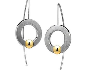 Flat Round Drop Earrings With Tension Set Gold Spheres in Stainless Steel by Taormina Jewelry