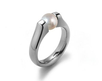 White Pearl Ring Tension Set in Stainless Steel by Taormina Jewelry