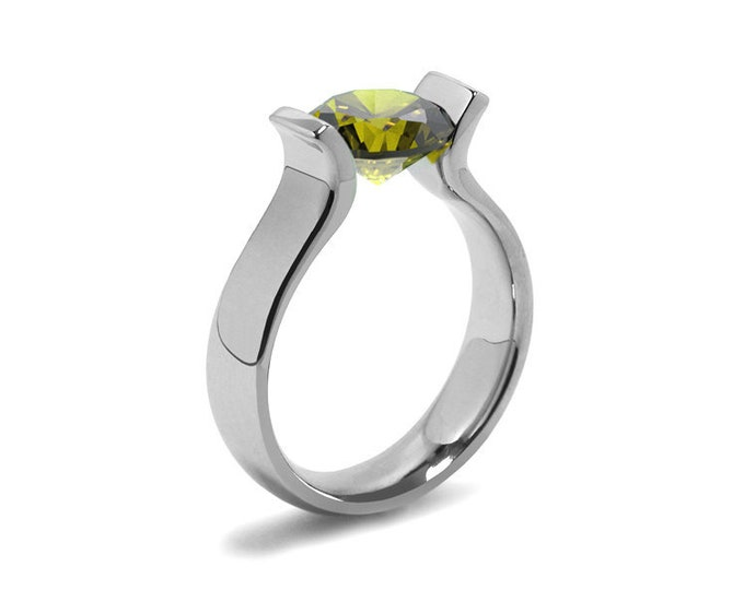 1.5ct Peridot Lyre shaped Tension Set Ring in Stainless Steel