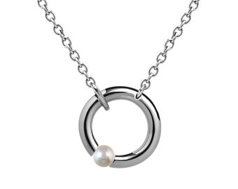 White Pearl Tension Set Necklace in Stainless Steel by Taormina Jewelry