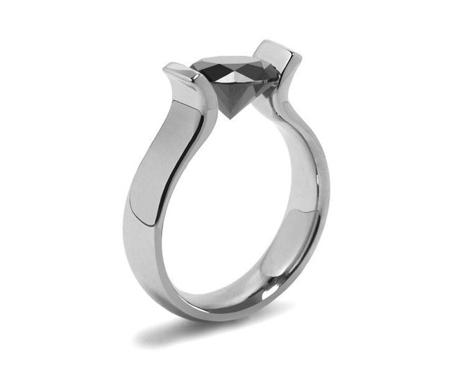 1ct Black Diamond Lyre shaped Tension Set Ring in Stainless Steel by Taormina Jewelry
