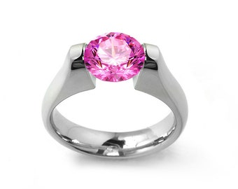 1ct Pink Sapphire Tension Set Steel Engagement Ring