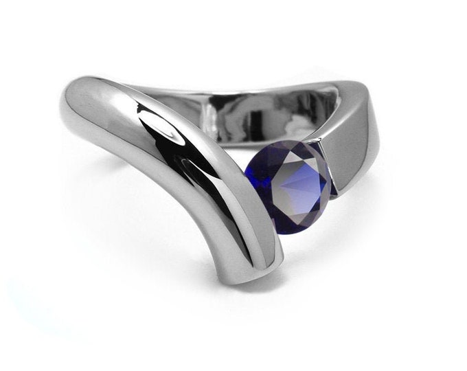 1ct Blue Sapphire Bypass Tension Set Ring in Two Tone Stainless Steel by Taormina Jewelry